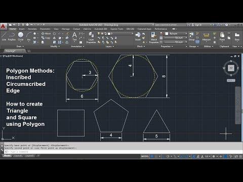 AutoCAD Polygon Command Tutorial Complete | Inscribed, Circumscribed, Edge, Triangle, Square