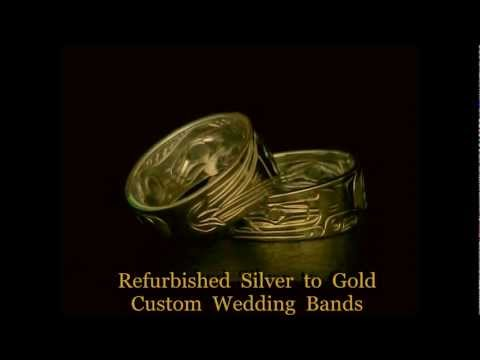 Custom Refurbished Northwest Coast Native American Indian Silver to Gold Wedding Bands