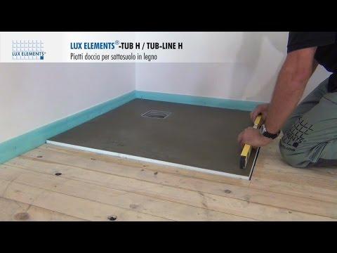 Montaggio LUX ELEMENTS: piatti doccia a filo pavimento TUB-H su pavimenti in legno