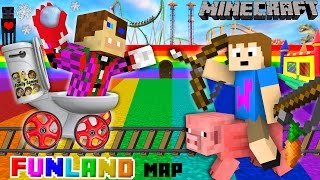 Duddy & Chase go to FUNLAND 3! Minecraft Amusement Park Map (FGTEEV Theme Park Mod Gameplay)