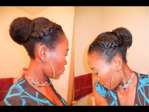 Two Straight Braids Two Front Braids With Bun in
