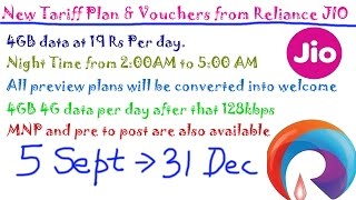 New Tariff Plan & Vouchers from Reliance JIO: Prepaid & Post Paid offer, Night time, 4GB per day