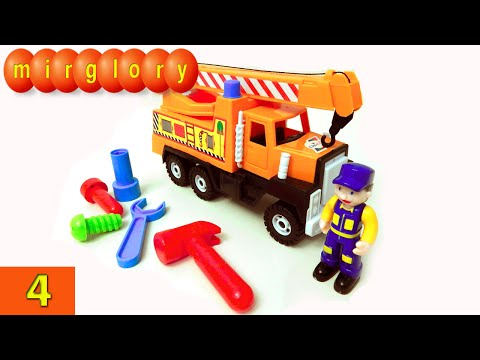Машинки мультфильм - Город машинок - 4 серия: Автокран, автомастерская. Развивающие мультики