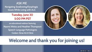 ASK ME: Navigating Swallowing/Dysphagia Issues While Living with ALS