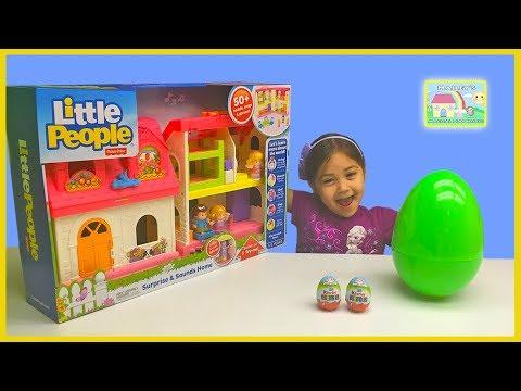 BIG LITTLE PEOPLE SURPRISE & SOUNDS HOME Tour + Huge Egg Surprise Opening Kinder Eggs Surprises Fun