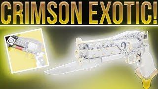 "Destiny 2 Curse of Osiris. ""Crimson"" Exotic Hand Cannon Review! (Exotic Burst Fire Hand Cannon)"