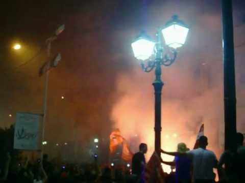 Olympiakos fans celebrate in Piraeus after Euroleague final against CSKA moscow 2012