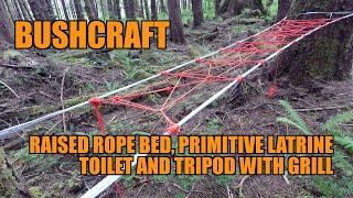 Bushcraft Survival Camping - Raised Paracord Rope Bed primitive latrine toilet