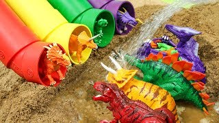 Learn Colors with dinosaurs Car! Pipe Water Slide Play with Tyrannosaurus Triceratops Toys
