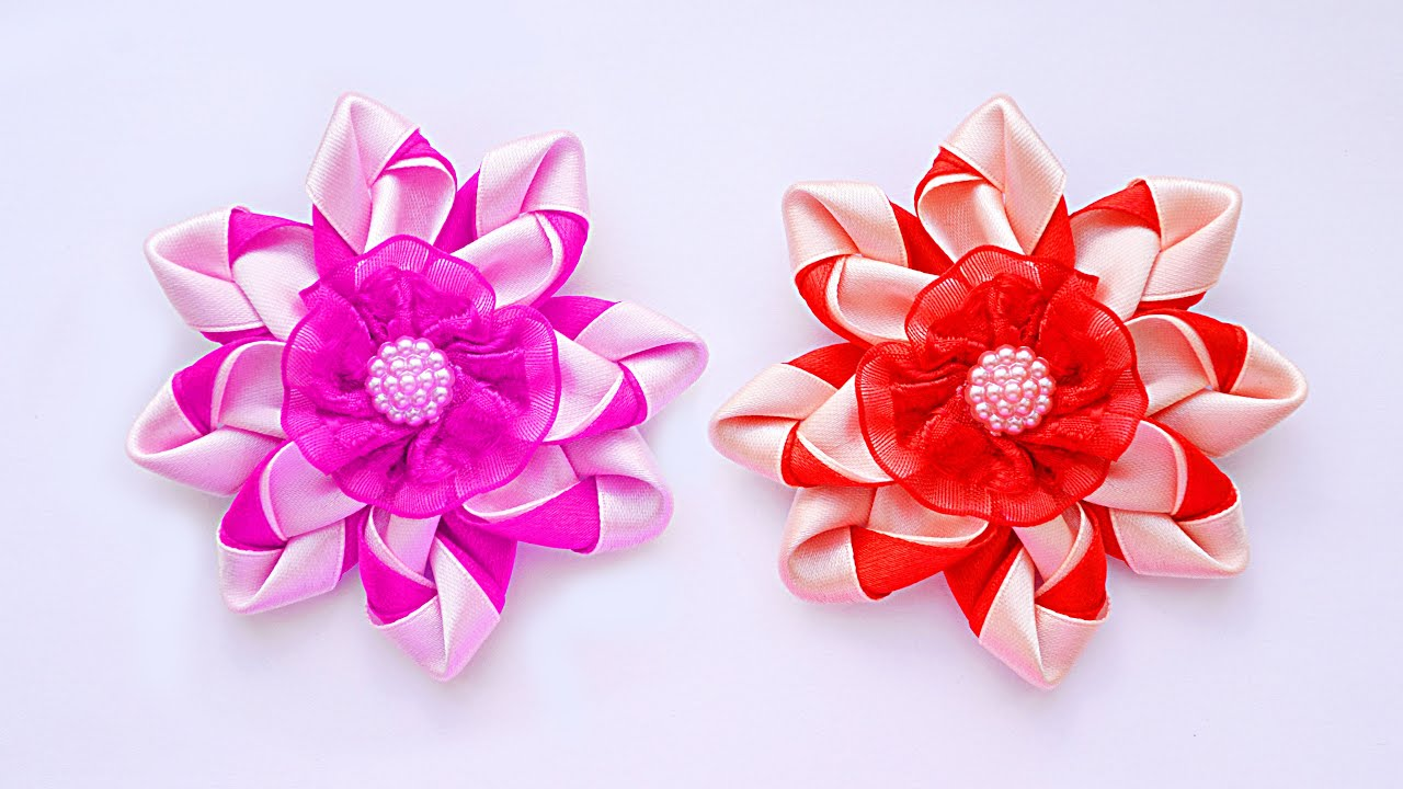 Воздушные цветы из атласной ленты своими руками