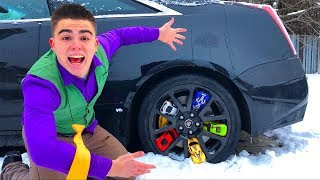 Mr. Joe on Cadillac CTS-V VS Toy Cars in Wheels Car VS Red Man found Toy Cars for Kids
