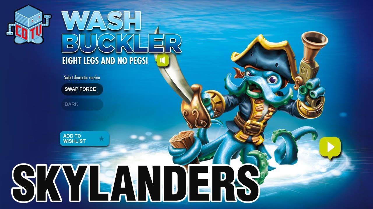 Skylanders Swap Force Wash Buckler Combinations Youtube