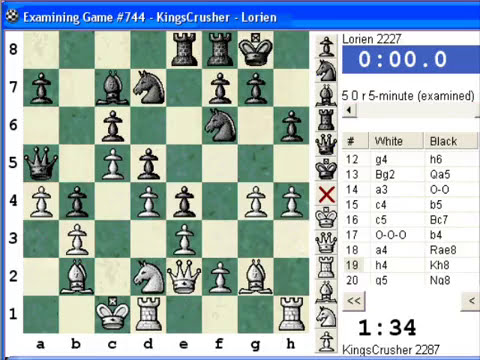 Chess World.net:  Blitz #363 vs. Lorien (2227) - Nimzovich-Larsen attack: classical variation (A01)