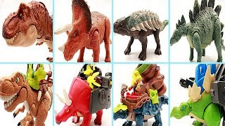 4 Dinosaurs Transformer Dino Robot! Dinosaur Toys For Kids. Learn Dinosaur Names~