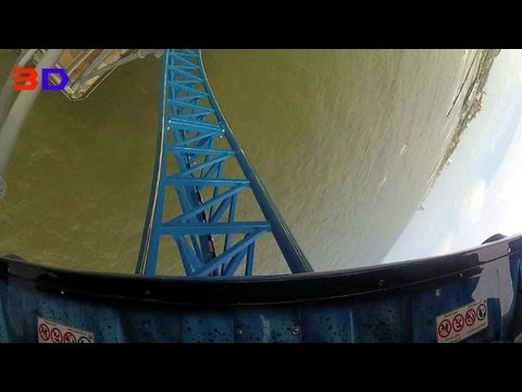 Iron Shark 3D front seat on-ride HD POV Galveston Island Historic Pleasure Pier