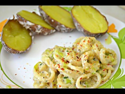 Вкуснейшие кальмары в сметанном соусе, менее чем за 15 минут. Просто рецепт.