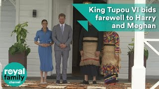 Tonga's King Tupou VI bids farewell to Prince Harry and Meghan