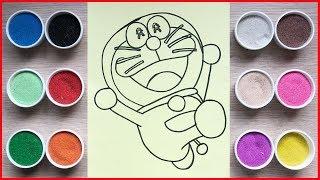 Đồ chơi trẻ em TÔ MÀU TRANH CÁT MÈO MÁY DORAEMON CƯỜI - Colored sand painting Doraemon (Chim Xinh)