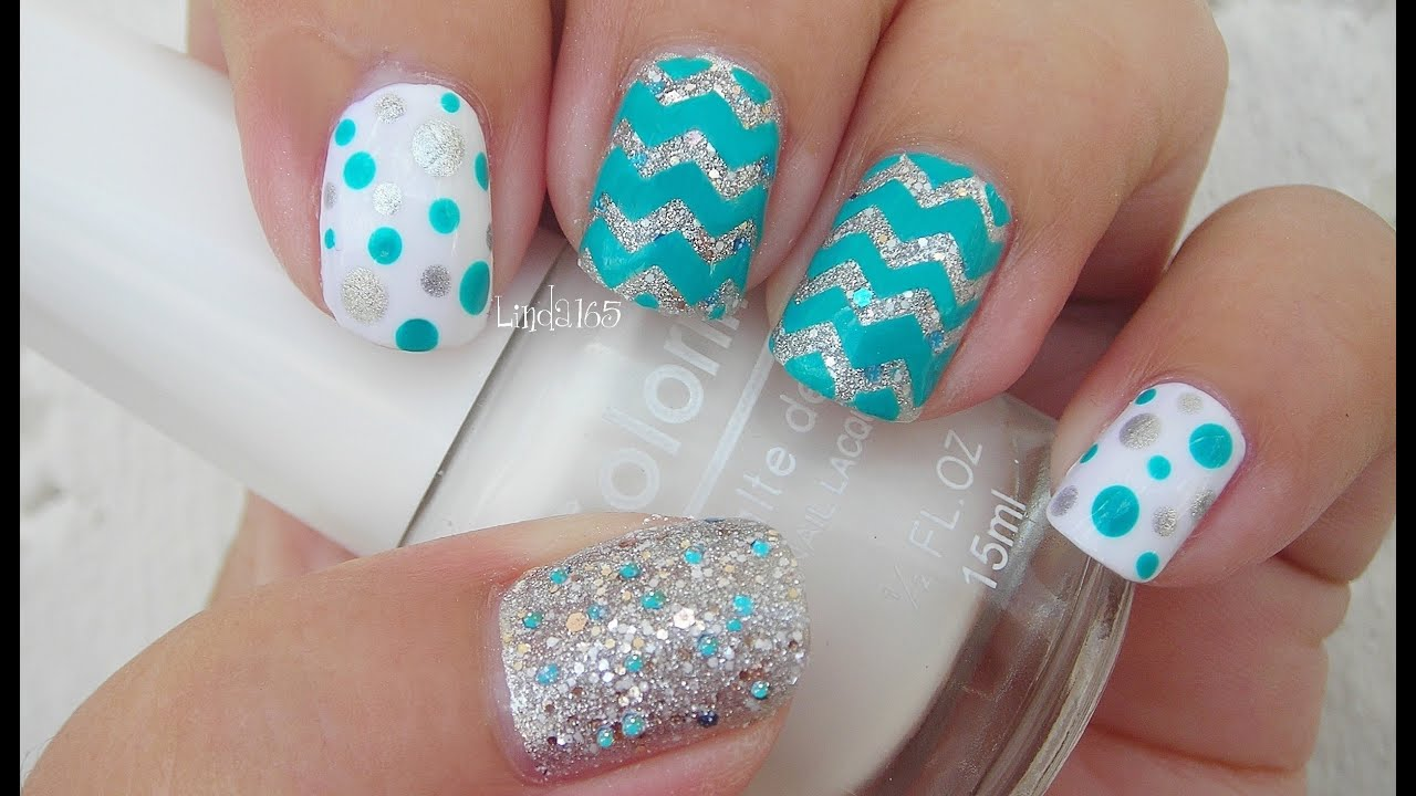 Glitter Chevron Acrylic Nails Nail Art Glitter Chevron
