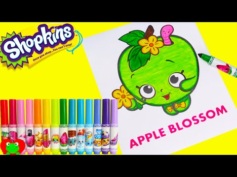 Shopkins Apple Blossom Coloring Crayola Markers and Surprises