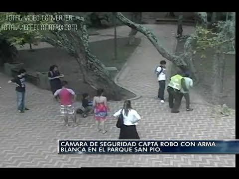 Cámara de seguridad capta robo con arma blanca en el parque San Pio