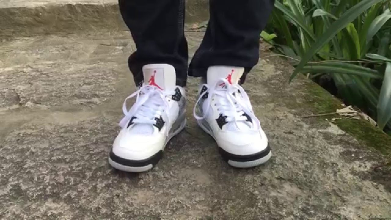 "2016 Nike Air Jordan 4 OG ""White Cement""  -W/On Foot Review (Men and Women) shoes"
