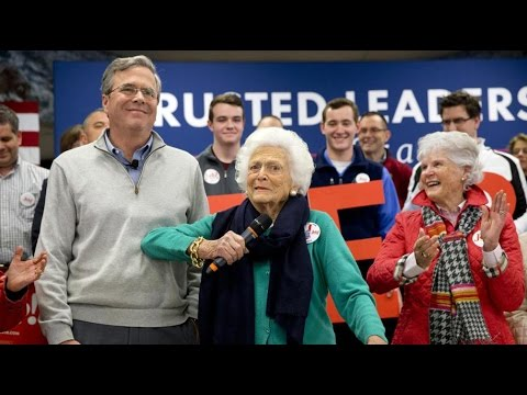 Jeb and Barbara Bush in Derry, N.H.
