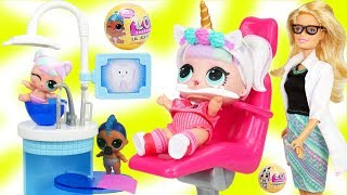 Unicorn Family Visit Doctor Dentist Barbie | LOL SURPRISE Fun Toys + Dolls for Kids | ToyEggVideos