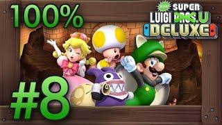 New Super Luigi U Deluxe: 100% Co-Op Walkthrough World 8 - Peach's Castle (All Star Coins)