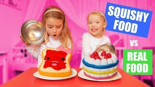 SQUISHY FOOD vs REAL FOOD CHALLENGE!!! ♥DeZoeteZusjes♥