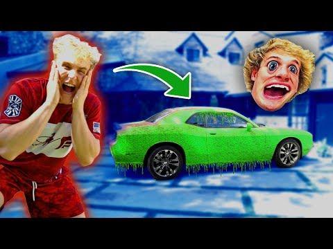 SUPER SLIME PRANK ON MY BROTHERS CAR!!