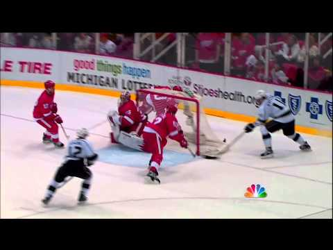 Jonathan Ericsson out muscles Anze Kopitar to save a goal vs Kings Feb 10 2013