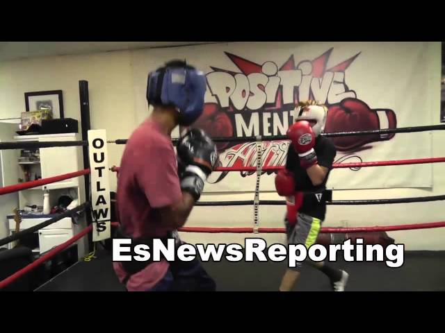 sparring a tall fighter david sparring naz at outlaws - EsNews boxing