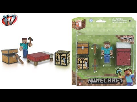 Minecraft Overworld Survival Pack + Steve Figure Toy Review, Jazwares