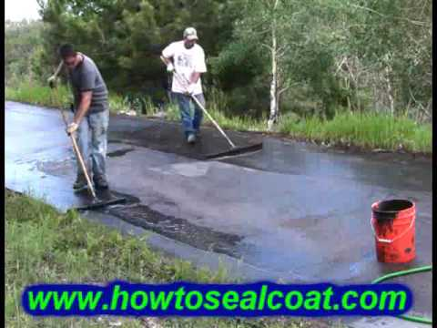 How To Seal Coat A Driveway DIY. Asphalt Blacktop Pavement