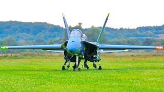 STUNNING AMAZING HUGE RC F-18 BLUE ANGELS SCALE MODEL TWIN TURBINE JET FLIGHT DEMONSTRATION