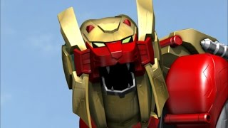 Lion Zord and Legendary Wild Force Megazord Debut Fight (Power Rangers Super Megaforce)