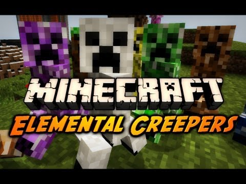 Minecraft Mod Review: ELEMENTAL CREEPERS MOD!