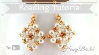 Winterglow Earrings Beading Tutorial by HoneyBeads1 (with pearls)