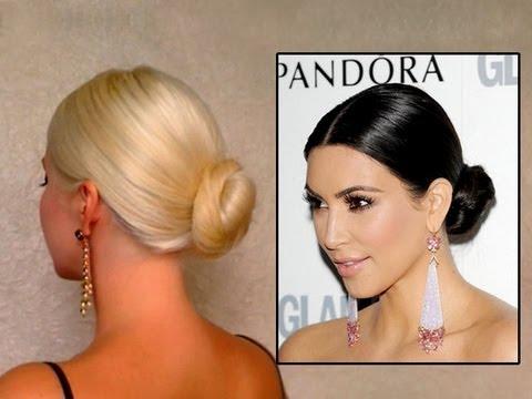 Kim Kardashian Bun Hair Tutorail Prom Wedding Updo Hairstyle For Long Hair Sleek Down Do Youtube