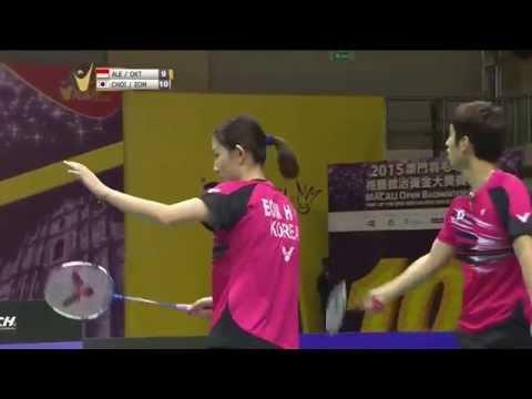 2015 Macau Open | Badminton SF M1-XD | Ale/Okt vs Choi/Eom