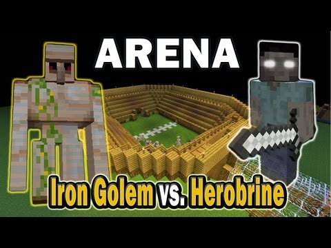 Minecraft Arena Battle Iron Golem vs. Herobrine