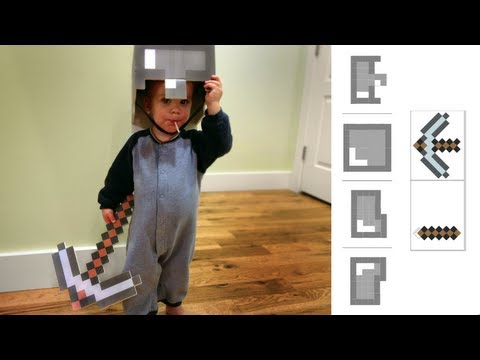 IRL How to make Minecraft Costume Helmet & Pickaxe