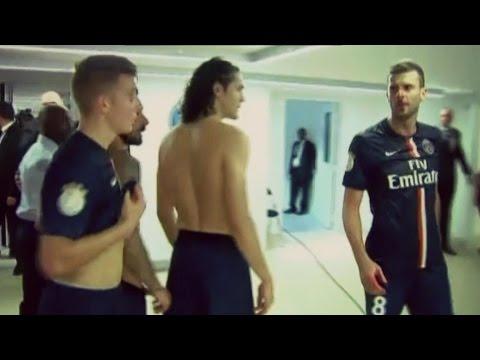 Brandao Casse le Nez de Thiago Motta d'un coup de boule à la fin du match Paris Bastia