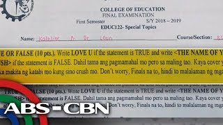 TV Patrol: 'Hugot lines' sa isang exam sa Bicol, nag-viral
