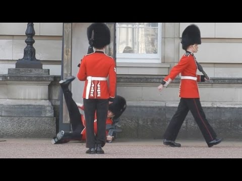 Buckingham Palace Guard Slips and Falls During Changing of the Guard