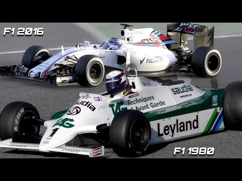 Formula 1 Sound comparison -  F1 2016 V6 Turbo vs F1 1980s V8 N/A
