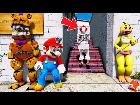 PENNYWISE SURPRISES THE ANIMATRONICS AND SUPER MARIO ODYSSEY! (GTA 5 Mods For Kids FNAF RedHatter)