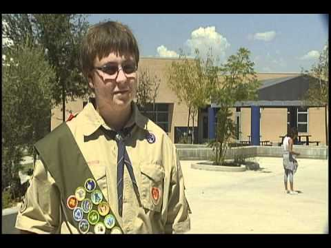 BOY SCOUT DONATES SCHOOL SUPPLIES TO NEEDY CHILDREN