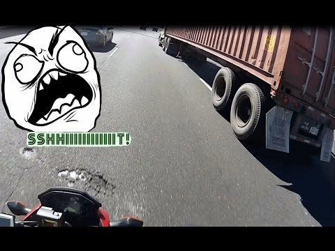 Close call with transport truck on the highway